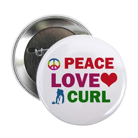 "Peace Love Curl Designs 2.25"" Button (100 pack)"