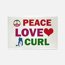 Peace Love Curl Designs Rectangle Magnet