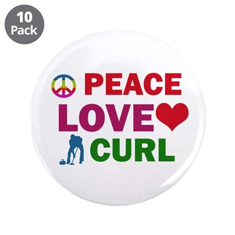 "Peace Love Curl Designs 3.5"" Button (10 pack)"