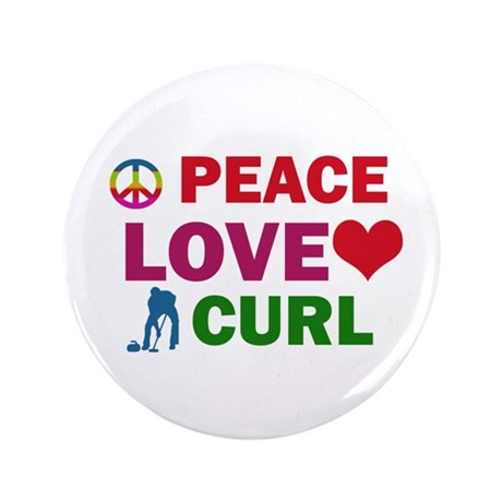 "Peace Love Curl Designs 3.5"" Button (100 pack)"