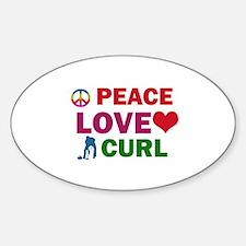 Peace Love Curl Designs Sticker (Oval)