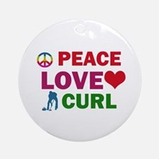 Peace Love Curl Designs Ornament (Round)
