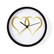 Gold Hearts Wall Clock