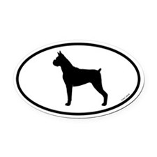 Boxer Oval Car Magnet (Cropped Ears)