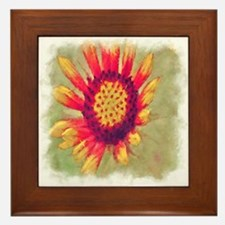 Red & Yellow Painted Flower Framed Tile