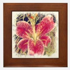 Painted Oriental Lily Framed Tile