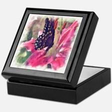 Painted Lily w Butterfly Keepsake Box