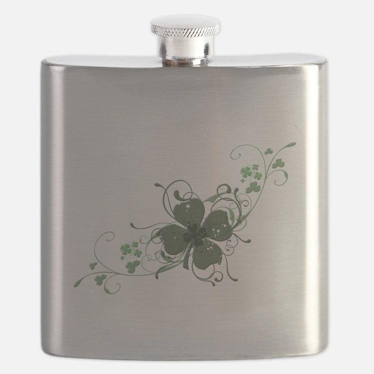 Elegant Shamrock Design.png Flask