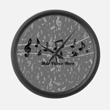 Personalized Grey black musical notes Large Wall C