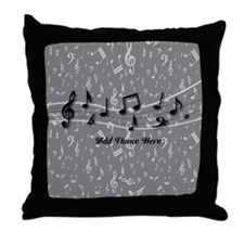 Personalized Grey black musical notes Throw Pillow