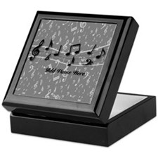 Personalized Grey black musical notes Keepsake Box