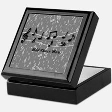 Personalized Grey black musical notes Keepsake Box