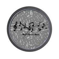 Personalized Grey black musical notes Wall Clock
