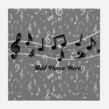 Personalized Grey black musical notes Tile Coaster