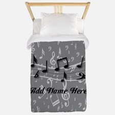 Personalized Grey black musical notes Twin Duvet