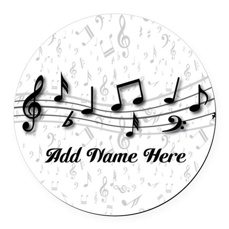 personalized musical notes design round car magnet by