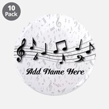 """Personalized Musical Notes design 3.5"""" Button (10"""