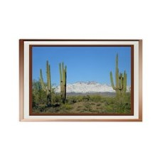 Snowy Four Peaks with Border Rectangle Magnet