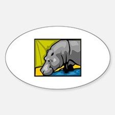Hippo Sticker (Oval)