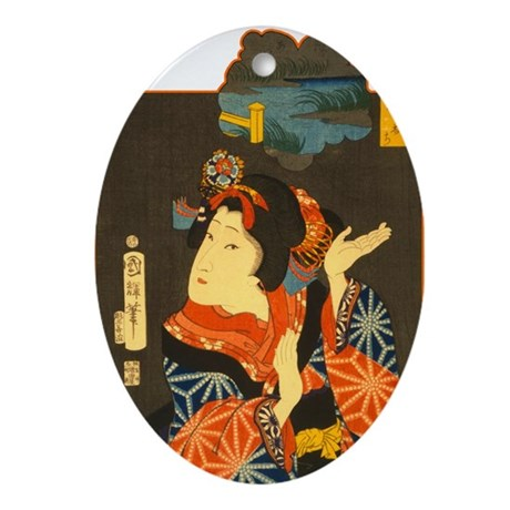 Vintage Geisha Oval Ornament