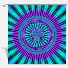 Teal and Purple Mind Warp Fractal Shower Curtain