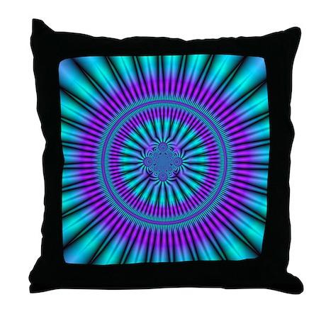 Teal and Purple Mind Warp Fractal Throw Pillow