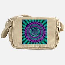 Teal and Purple Mind Warp Fractal Messenger Bag