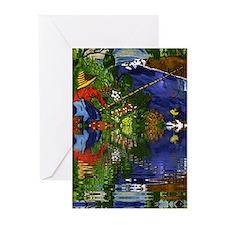 Boy Cane Fishing Greeting Cards (Pk of 10)