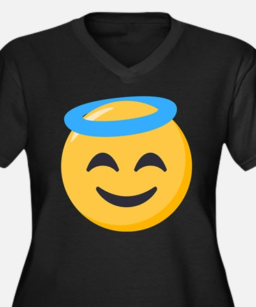 Angel Smiley Women's Plus Size V-Neck Dark T-Shirt