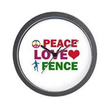 Peace Love Fence Designs Wall Clock