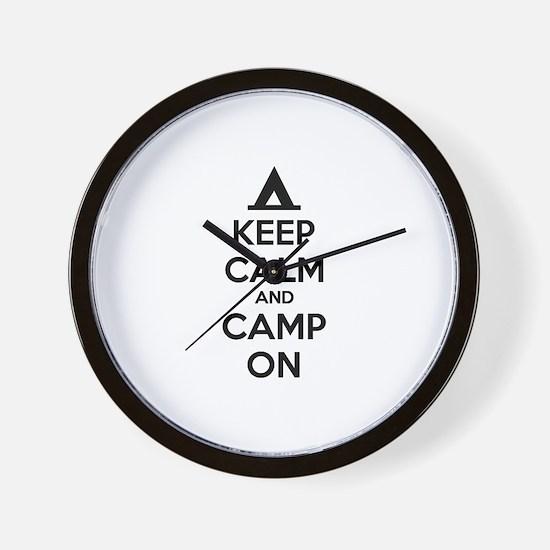 Keep calm and camp on Wall Clock