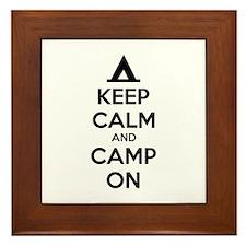 Keep calm and camp on Framed Tile