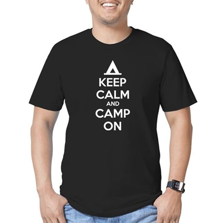 Keep calm and camp on Men's Fitted T-Shirt (dark)