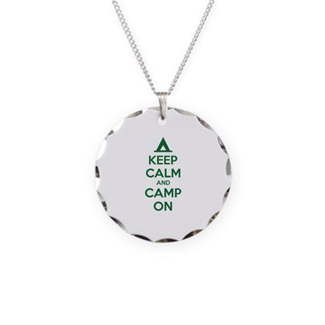 Keep calm and camp on Necklace Circle Charm