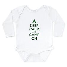 Keep calm and camp on Long Sleeve Infant Bodysuit