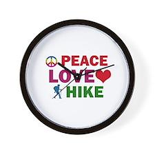 Peace Love Hike Designs Wall Clock