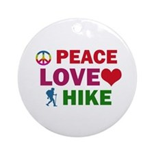 Peace Love Hike Designs Ornament (Round)