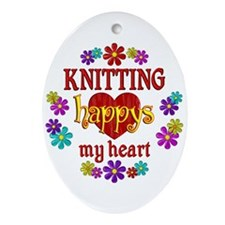 Knitting Happy Ornament (Oval)