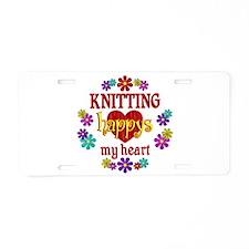 Knitting Happy Aluminum License Plate