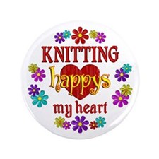"""Knitting Happy 3.5"""" Button"""