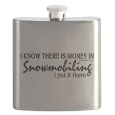 Money in Snowmobiling Flask