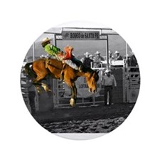 """Rodeo Cowboy In Green 3.5"""" Button"""