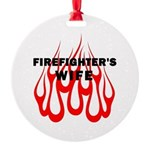 Firefighters Wife Flames Round Ornament