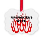 Firefighters Wife Flames Picture Ornament