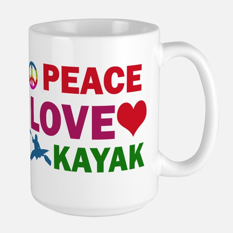 Peace Love Kayak Designs Large Mug