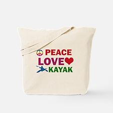 Peace Love Kayak Designs Tote Bag