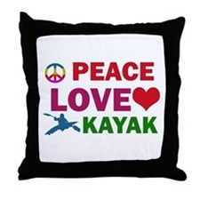 Peace Love Kayak Designs Throw Pillow