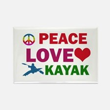 Peace Love Kayak Designs Rectangle Magnet