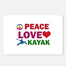 Peace Love Kayak Designs Postcards (Package of 8)
