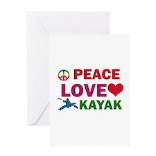 Peace Love Kayak Designs Greeting Card